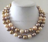 12mm Multicolor South Sea Shell Pearl Necklace Beads Jewelry Natural Stone 34 BV115 Wholesale Price