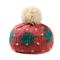 Five Pointed Stars Christmas Gift Headgear Hat Pompom Bonnet Women Ladies Handmade Skullies Winter Warm Knitted
