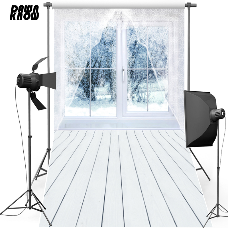 DAWNKNOW Vinyl Photography Background Merry Christmas Window Snow For Family Polyester Backdrops For Children Photo Studio ST448 Платье