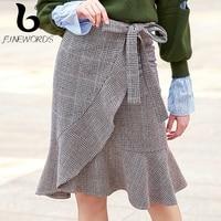 FINEWORDS New Winter England Style Grey Plaid Skirts Womens Cashmere Short Irregular Midi Mermaid Skirt Wool Vintage Casual Saia