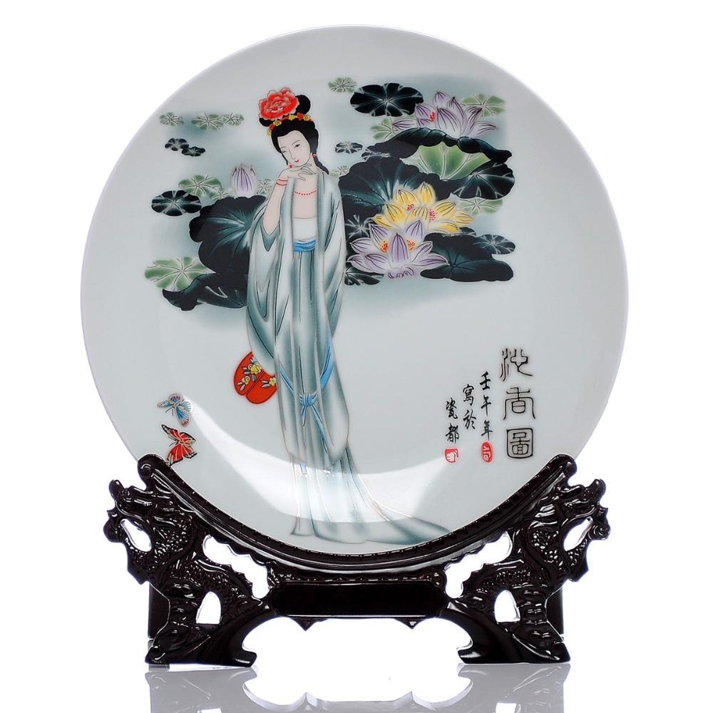 Portretul plăcilor de frumuseți antice chinezești Placă ceramică în stil chinezesc Baza de lemn din porțelan dormitor Art. Farfurie decorativă