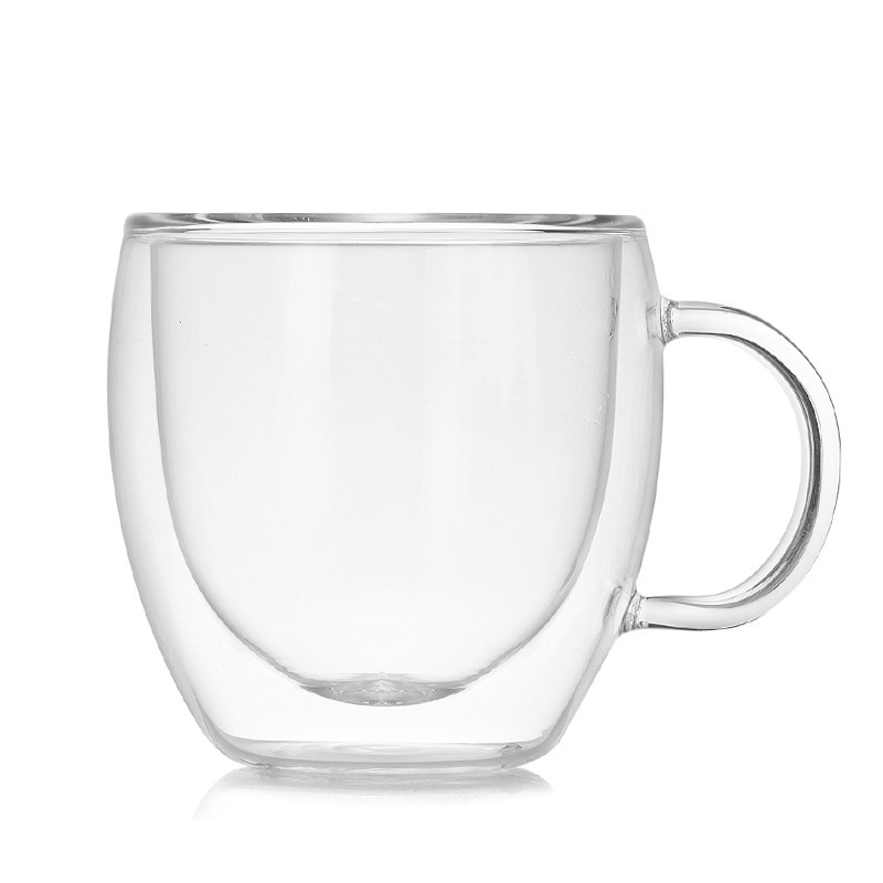 Sales Glass Cup 150ML Heat Resistant Coffee Tea Cups Double Layer Exquisite Mugs Transparent @