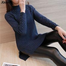 Autumn and winter sweater female head long in Korean Turtleneck Sweater Dress Size Split loose woman Xnxee
