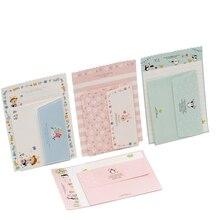 30 paquets/lot mignon lapin pingouin fleur 2 enveloppe + 4 papier lettre Mini bloc notes papier à écrire bureau & école Supplie