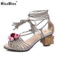 Rizabina حجم 33-43 السيدات عالية الكعب الصنادل النساء الزهور الدانتيل يصل ارتفاع كعب أحذية للنساء حفل زفاف الأحذية