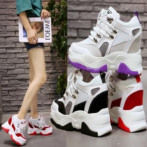 Image 5 - 2019 חדש נשים פלטפורמת נעליים יומיומיות רשת לנשימה טריז עקבים נעלי 10 cm סתיו עבה בלעדי סניקרס אישה Deportivas Mujer