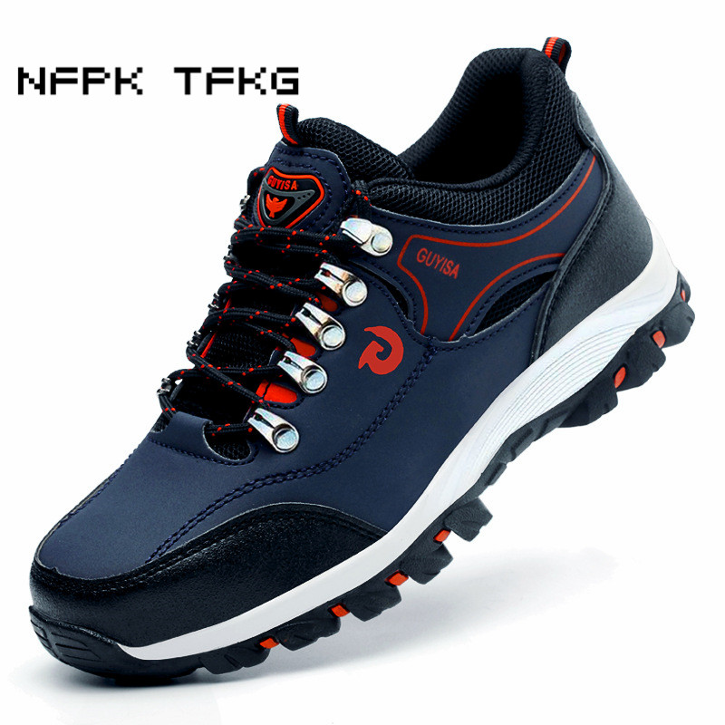 new fashion men large size breathable steel toe covers working safety shoes cow leather anti puncture