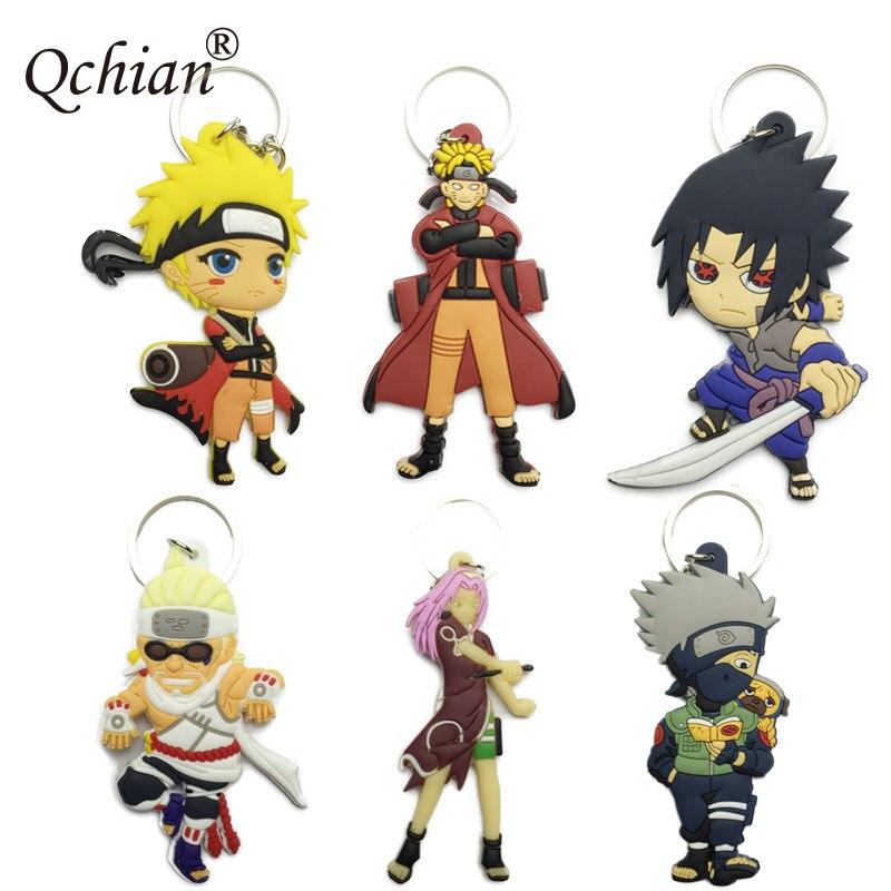 Cartoon Naruto Keychain Blue B Uchiha Sasuke Haruno Sakura Hatake Kakashi Key Chains Silicone keyring bag chain
