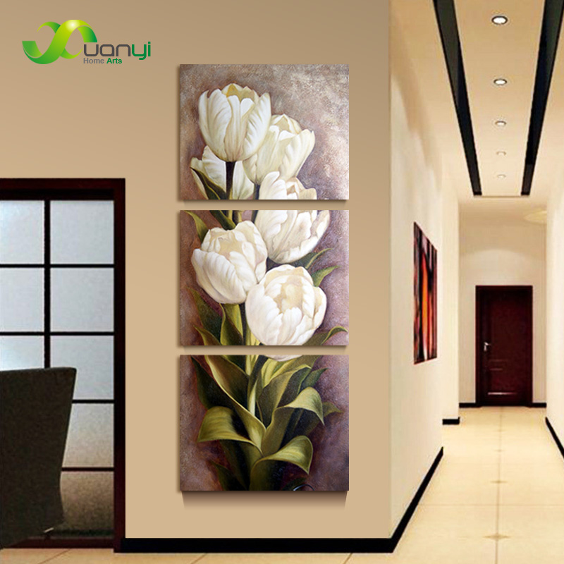 3 piece oil painting living room modern wall painting flower decorative wall art painting for Oil painting for living room