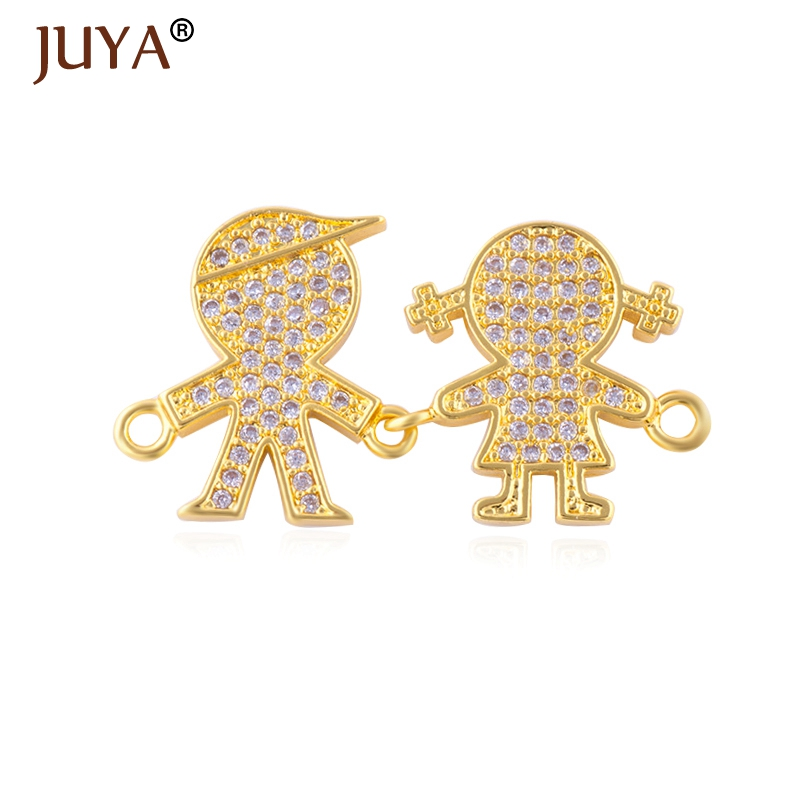 Rose Gold/Silver Plated Copper Zircon Boy And Girl Connectors For Jewelry Making Findings Accessories DIY Bracelet Necklace