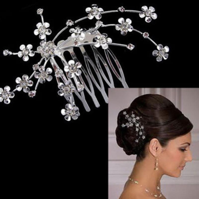 Bride Hair Accessories Silver Color Vintage Wedding Party Bridal Hair Comb Flower Crystal Design Starry Rhinestone Hair Jewelry