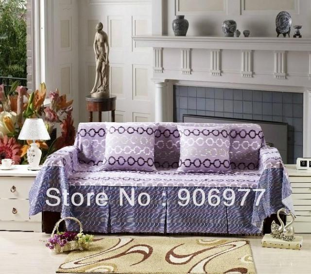 Cotton Purple Sofa Cover Set Cloth Sheet For Living Room Four Seater 200 350