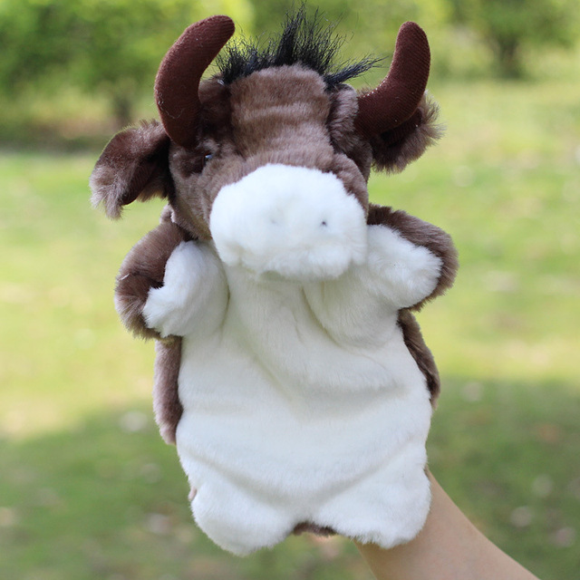 Bull Hand Puppet Dolls Baby Early Educational Plush Puppet Best Christmas Doll Toys Gifts Brinquedo
