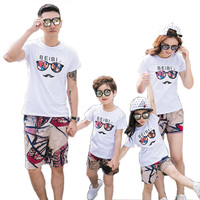 New 2017 Summer Family Look Outfits Mother Girl Father Boy Clothes Sets White T Shirt Shorts