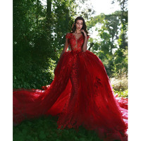 Gorgeous Red Mermaid Wedding Gowns with Detachable Tulle Train Fashion Appliqued Lace Bridal Gowns 2018 Arabic Women Party Dress