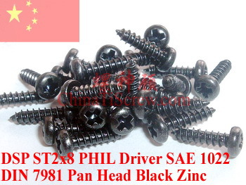 Self Tapping screw ST2x8 DIN 7981 Pan head PHIL  Bloack Zinc 100 pcs phil collin but seriously 2 lp