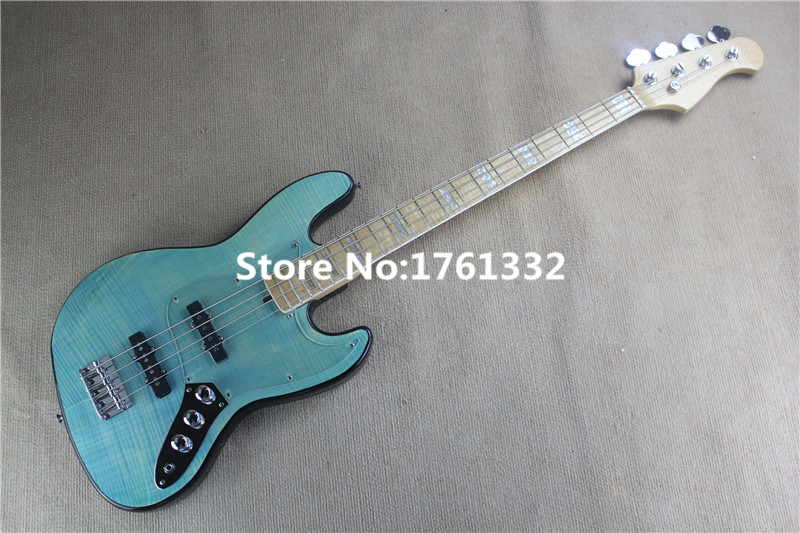 light maple veneer hot sale 20 frets 4 strings transparent blue electric bass with