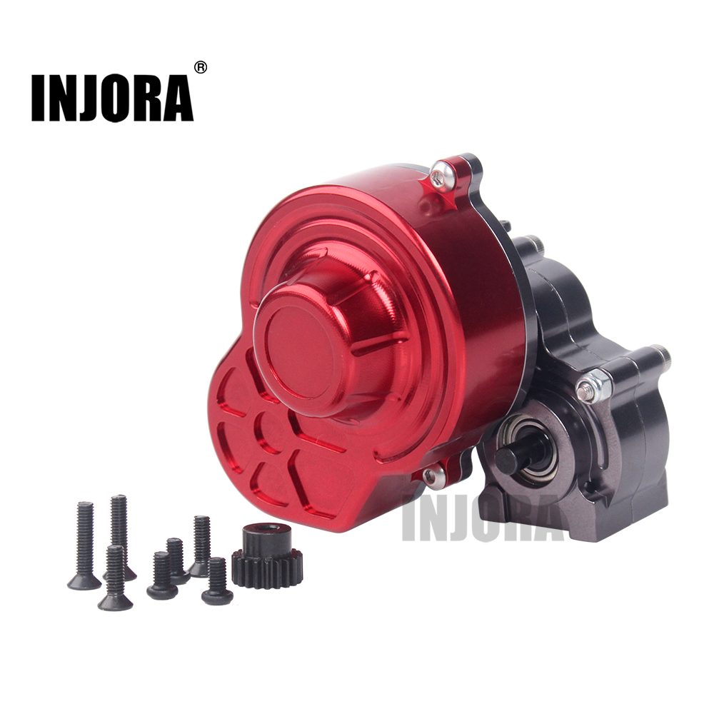 INJORA Complete Metal SCX10 Gearbox Transmission Box with Gear for 1/10 RC Crawler Axial SCX10 Upgrade RC Car Parts 1pc black 1 10 rc crawler scx10 metal aluminum transmission center gearbox for 1 10 axial scx10 gear box
