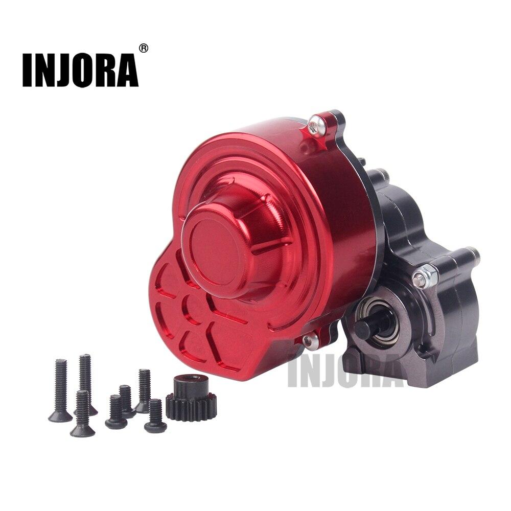 INJORA boîte de Transmission de boîte de vitesses complète en métal SCX10 avec engrenage pour 1/10 RC chenille axiale SCX10 mise à niveau RC pièces de voiture