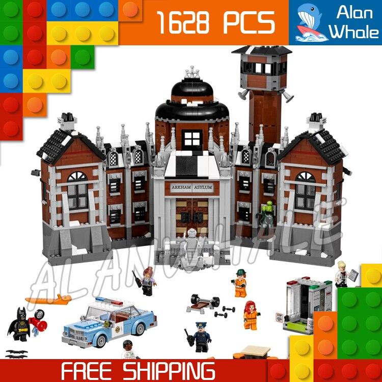 1608pcs New Super Heroes Batman 07055 Arkham Asylum DIY Model Building Kit Blocks Gifts Movie Toys Compatible with Lego