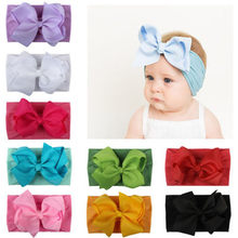 Girls Baby Toddler Turban Solid Headband Hair Band Bow Accessories Headwear(China)