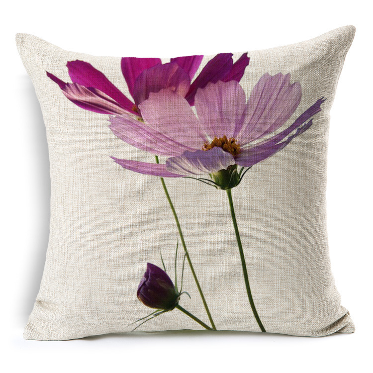 Slow Soul Fresh Pink Purple Flowers Cushion Cover Cotton Linen Square  45cmx45cm Plant Decorative Pillow Cases Housse De Coussin