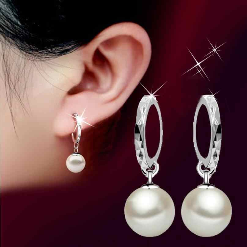 New Hot Simple 8 10 12mm Pearl Drop Earrings For Women 925 Sterling Silver Jewelry Pendientes Statement Dangle Earrings SAE17
