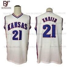 7197ed75776 BONJEAN New Cheap Throwback Joel Embiid 21 Kansas Jayhawks College  Basketball Jersey White Stitched Sewn Retro Mens Shirts