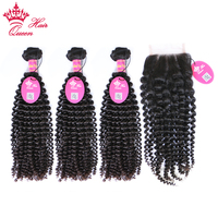 Queen Hair Products 3Pcs Brazilian Kinky Curly Hair With Lace Closure Free Part Virgin Human Hair 12 to 28 Natural Color