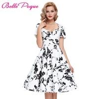 Vestidos Women Dress Sexy V Neck Hollowed Back 50s Rockabilly Vintage Dress Flower Print Robe Plus