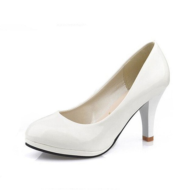 POADISFOO 2017 Classic Soft Flexible  Office Pumps Round toe  shoes White Red Med heels Pumps  Party wedding shoes   .DFGD-8807