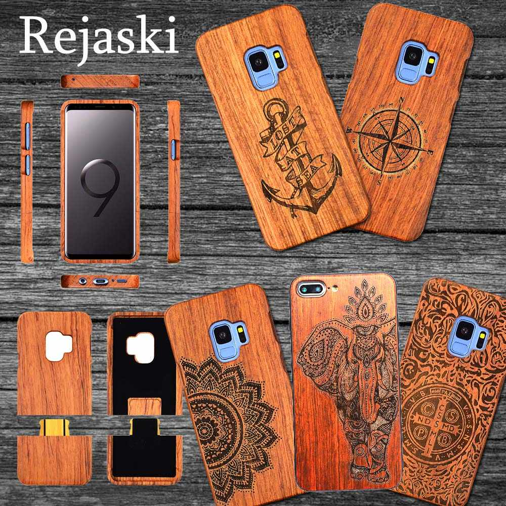Vintage Wood Phone Cases For Samsung Galaxy S8 S9 Plus Real Ganesha Wooden Phone Cover Samsung Galaxy Note 8 9 S7 Edge Case