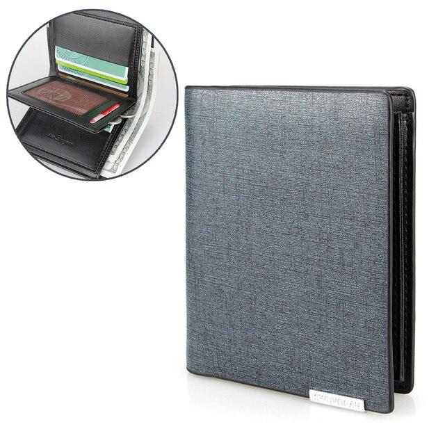 150a00fd3 Moda billetera azul con lentejuelas para hombre carteras de cuero cartera  corta Vertical tres pliegues tarjetero