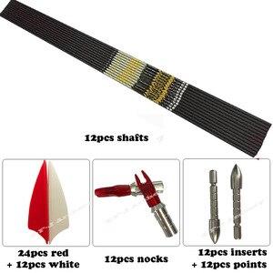 "Image 3 - חץ וקשת עמוד השדרה 350 400 450 500 600 700 750 800 ID4.2mm פחמן חצים פיר סכינים Recurve LongBow ציד ירי + .001"""