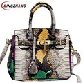 2017 New Summer Women Snake PU Leather Handbags Fashion Female Crossbody Bag Shoulder Messenger Bag for Ladies Totes L4-2562