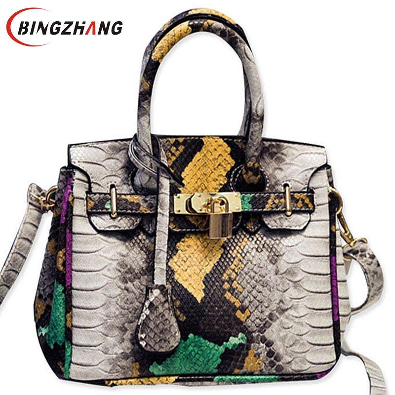 Summer Snake PU Leather Handbags Female Crossbody Bag Shoulder Messenger Bag For Ladies Totes L4-2562
