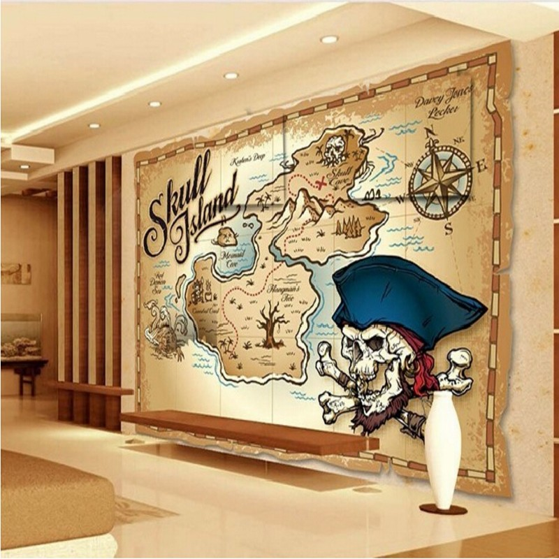 Children\'s Treasure Map Beibehang papel de paede pirate treasure map wallpaper fashion