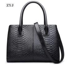 ZYJ Роскошные из натуральной кожи Змеиный для женщин сумка плеча Tote сумки повседневное Дамы Досуг через плечо сумочка