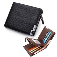 Mode Marke kurzen karierten designer herren leder geldbörse tasche mann Geldbörse mit reißverschluss kartenhalter schlank Money taschen für männlich