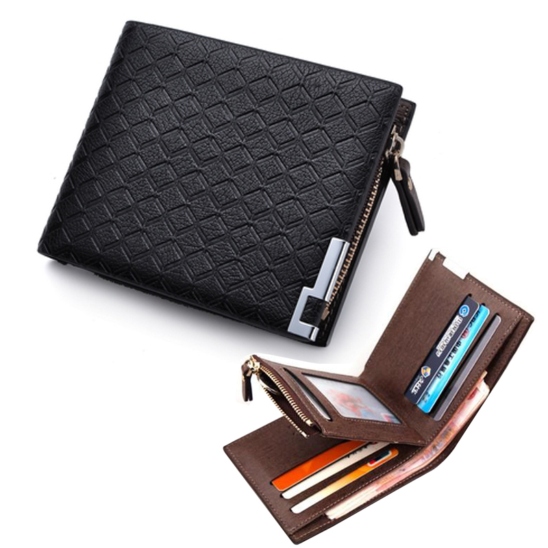 New Fashion Short Plaid Men s Leather Wallet With Coin Pocket Man Purse Card holder Slim