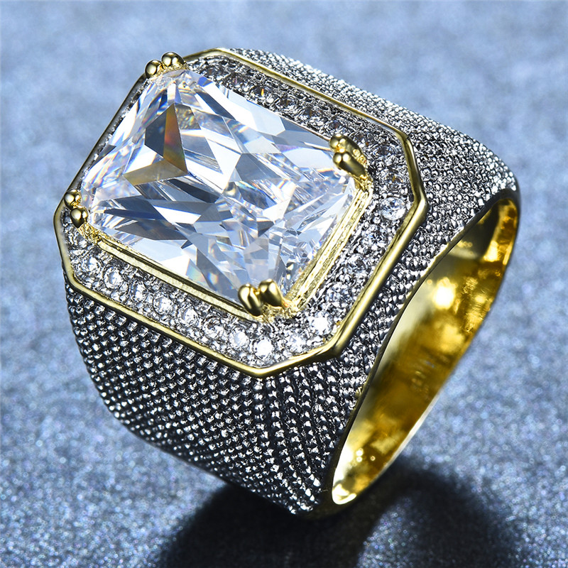Gorgeous Big Male Female Pink Yellow Blue White Ring Crystal Zircon ... 0bc6a521b717