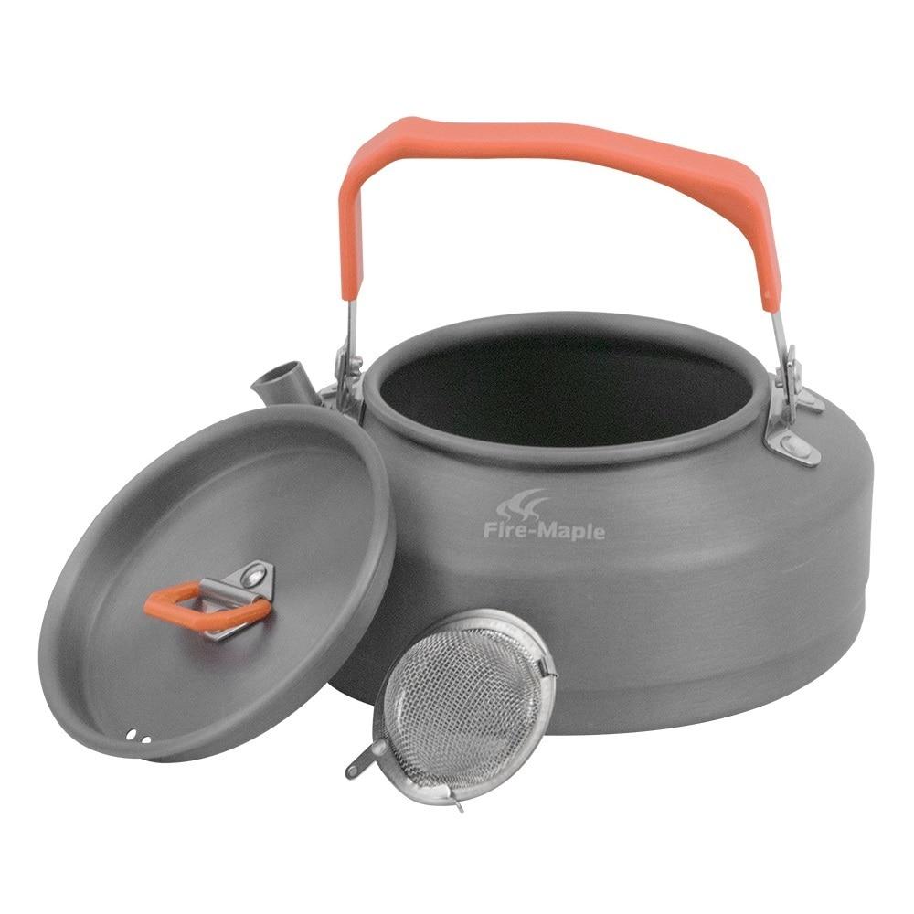 النار القيقب التخييم في الهواء الطلق غلاية القهوة وعاء الشاي 0.8L مع مقبض مقاوم للحرارة والشاي مصفاة المشي نزهة معدات مجموعة FMC-T3