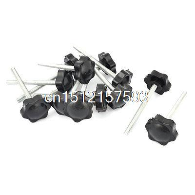 M6 x 70mm Male Thread 32mm Star Head Dia Screw On Type Clamping Knob 12Pcs 5x 46mm high 25mm thread length screw on type star shape knob
