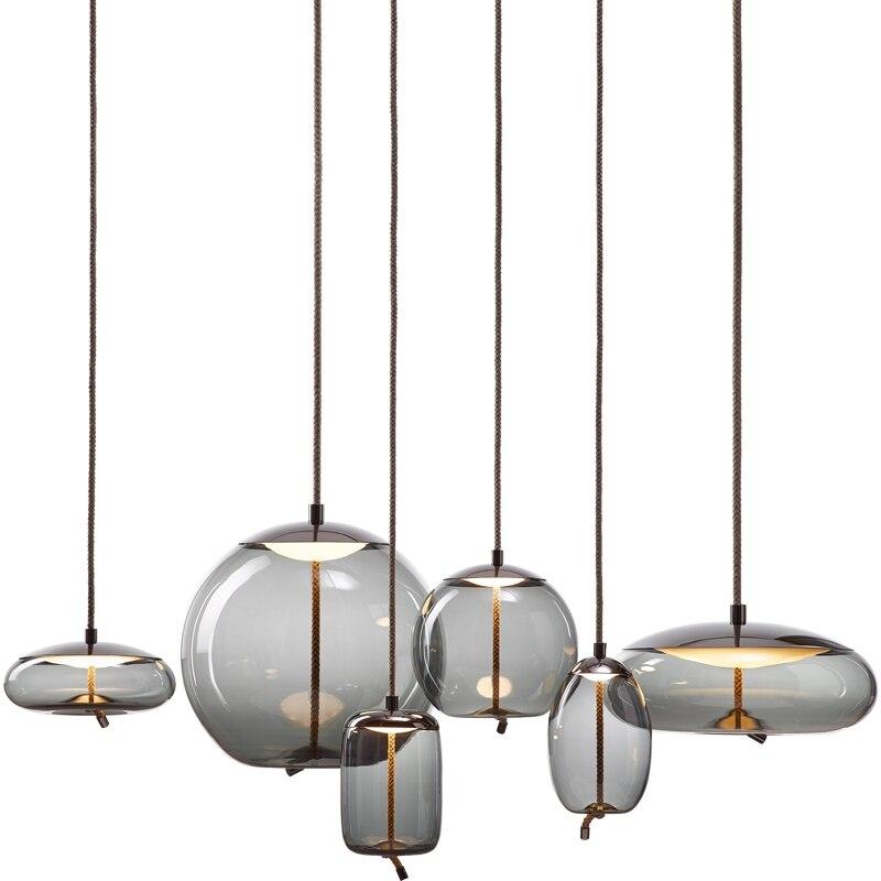 Pendentif LED nordique lumières Restaurant verre Art créatif minimaliste chambre couloir salle à manger décor lampes de cuisine industrielle