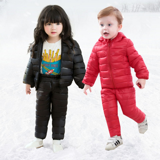 Kids Snowsuits Autumn Winter Down Cotton Coats Jackets Pant Baby Girls Boys Clothes Set Children Hooded Casual Outerwear 2PCS