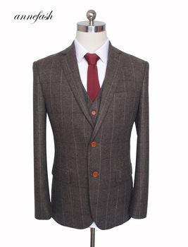 Custom Made Woolen dark brown Herringbone Tweed   2