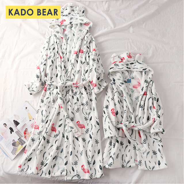 f2640c6d61 Winter Flannel Bathrobe Family Look Mother Daughter Pajamas Father Son  Matching Clothes Children Coral Fleece Robes Kids Pyjamas