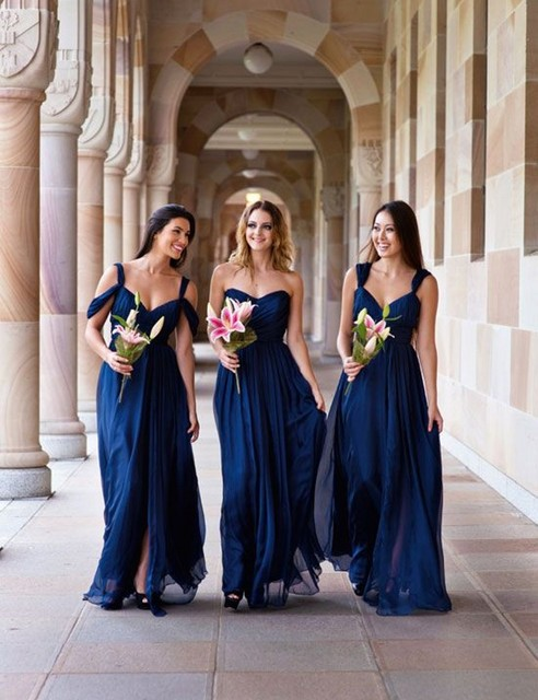 3 Styles A B C Bridesmaid Dress Navy Blue Peach Ivory