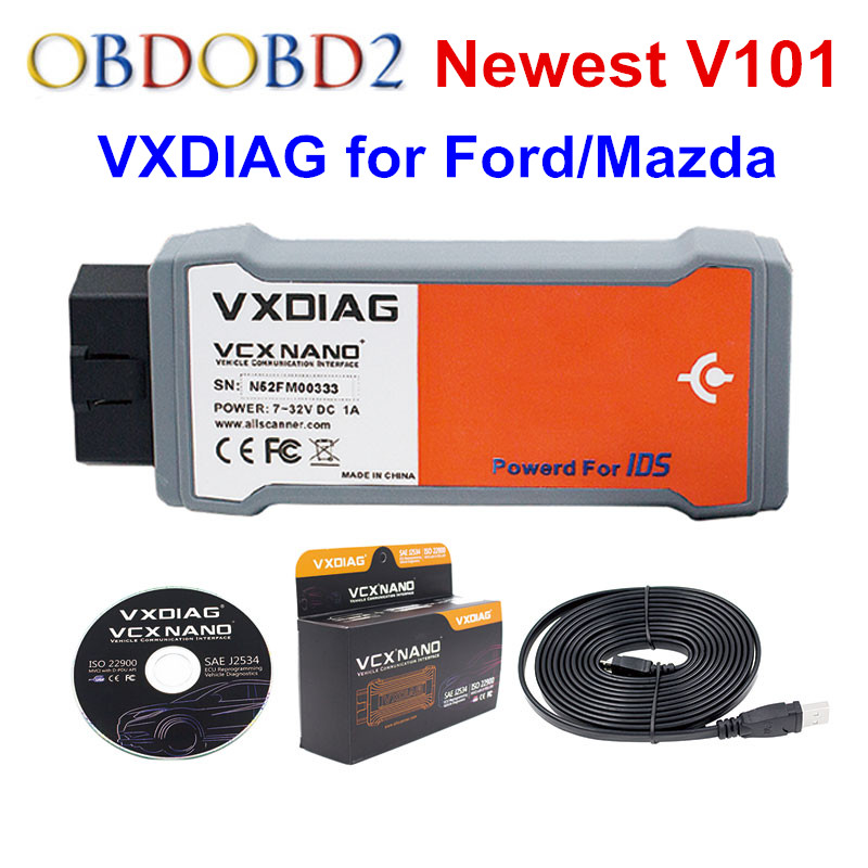 Newest VXDIAG VCX NANO For Ford V101 For Mazda V101 2 IN 1 For Ford Support Vehicle Till 2015 Year vxdiag vcx nano for f o r d mazda 2 in 1 ids v101 vxdiag vcx nano 2 in 1 support vehicle till 2015 year