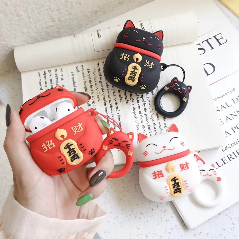For AirPods Case 3D Cute Cartoon Lucky Cat Earphone Case For Airpods 2/i10/i11/i12 TWS Soft Protect Cover With Finger Ring Strap